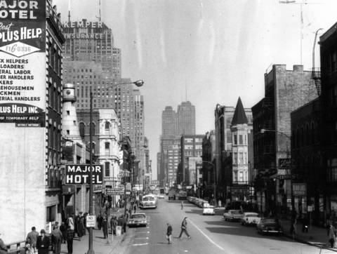 Skid Row at West Madison Street showing the Major Hotel on the left, looking east from the Northwest Expressway, circa May 5, 1961.