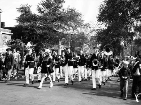 More than 700 of Austin High School's 3,500 students participated in a parade down Central Avenue, circa Oct. 14, 1957. The schools' band provided music.