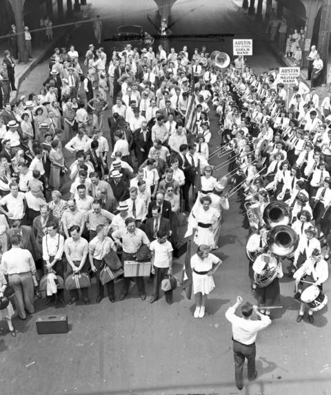 Draftees who prepared to march off to war in June 1942, received a send-off from the Austin High School band.