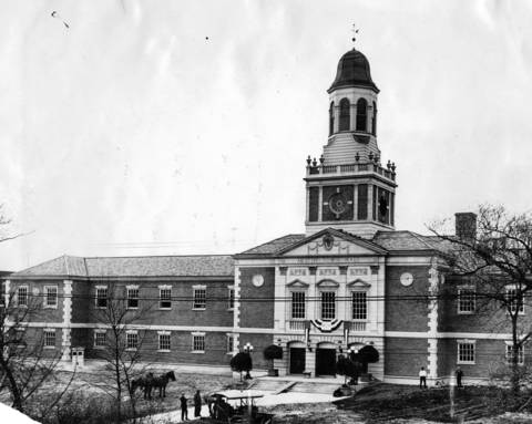 The Austin Town Hall when it was new, on April 5, 1929, at Lake Street and Central Avenue. The building, which was modeled on Philadelphia's Independence Hall, was dedicated that evening by the West Park Commission, according to an original caption.