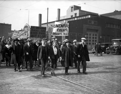 Unemployment Parade at Sangamon and Monroe Streets in Chciago, circa March 7, 1932.
