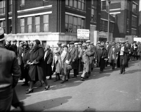 The Unemployment Parade at Sangamon and Monroe Streets, circa March 7, 1932.