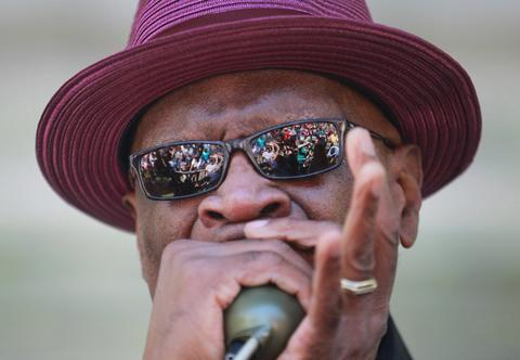 Harmonica Hinds performs at Blues Fest in Grant Park.