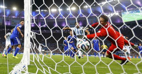 Bosnia's Sead Kolasinac scores an own goal against Argentina on Sunday.