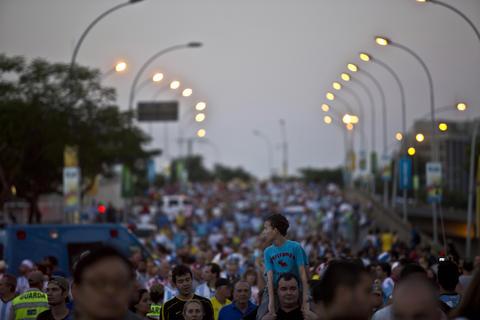 Fans walk to Maracana stadium where Argentina played on Sunday.
