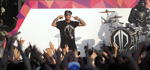 Destroid performs on stage at Spring Awakening, a three-day electronic dance music festival, held at Soldier Field in Chicago.
