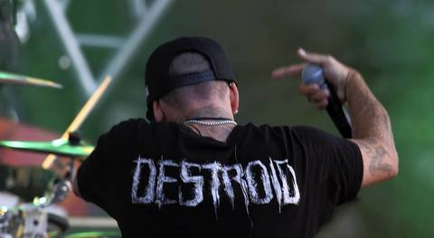 Destroid performs onstage at Spring Awakening, a three-day electronic dance music festival, held at Soldier Field in Chicago.