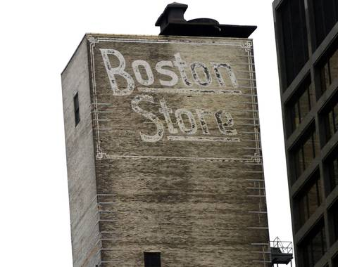 """""""Boston Store"""" located on north face of building at 1 North Dearborn Street."""