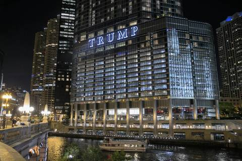 The lighted Trump sign on the Trump Tower.