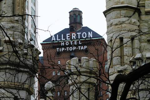 The Tip-Top-Tap sign on the Allerton Hotel off Michigan Avenue.