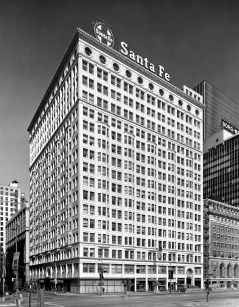 The Sante Fe Building, formerly the Railway Exchange Building at 224 S. Michigan Avenue, was designed by Frederick P. Dinkelberg of D.H. Burnham & Company, built in 1903, and is on the National Register of Historic Places. Burnham's architecture firm office was at the top right corner of the building overlooking.