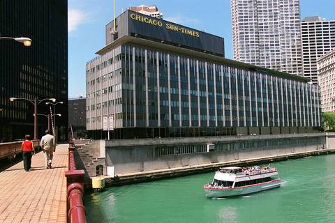 The Sun-Times building at Wabash Avenue overlooking the Chicago River was torn down to make way for the Trump Tower.