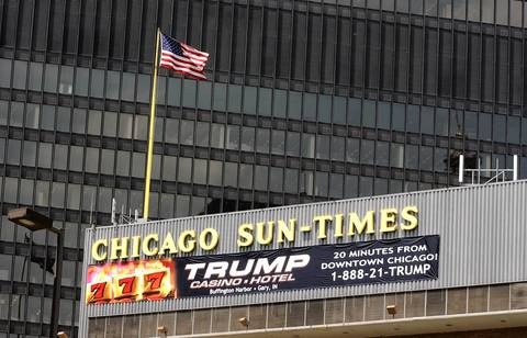 The Chicago Sun-Times building, location of the future Trump Tower, has a Trump casino sign displayed in 2002.