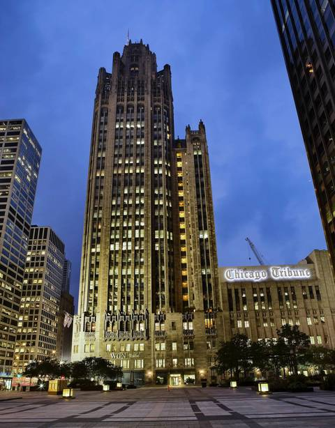 The Tribune Tower at 435 N. Michigan Ave., home of the Chicago Tribune newspaper.