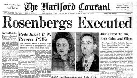 Julius and Ethel Rosenberg were the first American civilians to die for espionage, convicted for passing information about the atomic bomb to the Soviet Union. The couple died in the electric chair at Sing Sing prison in New York on June 19, 1953.
