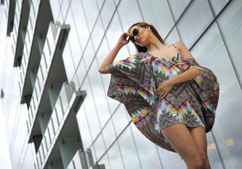 Felicia: poncho, $276, bikini top, $132, both from marahoffman.com