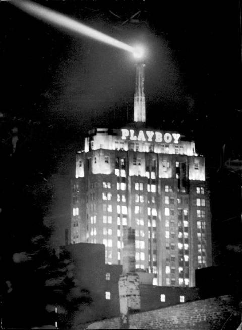 The Playboy sign on the Palmolive building.