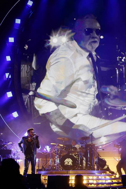 Queen's Roger Taylor, on drums, and Adam Lambert perform at United Center in Chicago.