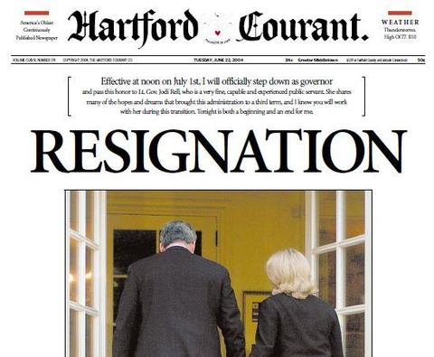 Plagued by a corruption scandal over work done by state contractors on his vacation home, Gov. John Rowland announced his resignation on June 21, 2004, effective July 1. Rowland later pleaded guilty to depriving the public of honest service and spent 10 months in federal prison.