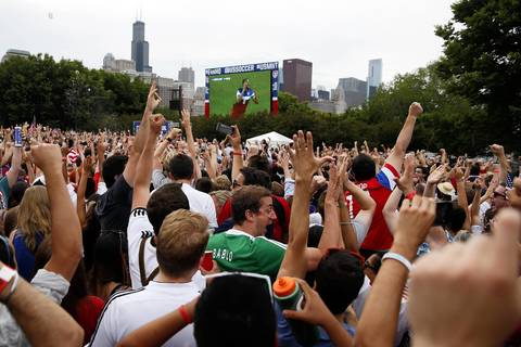 U.S. fans celebrate the team's go-ahead goal in a 2-1 World Cup win over Ghana.