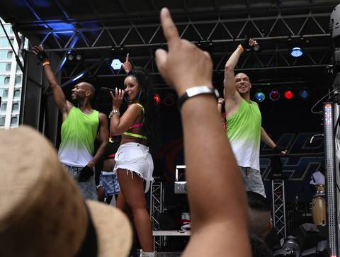 Mya finishes her set at Pride Fest in Chicago.