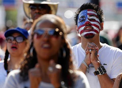 Jesus Rodriguez of Berkeley reacts during USA-Portugal World Cup viewing party in Chicago.