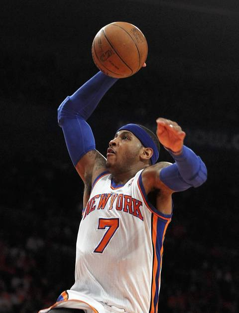 Carmelo Anthony of the New York Knicks goes to the hoop against the Miami Heat on April 15, 2012 at Madison Square Garden.