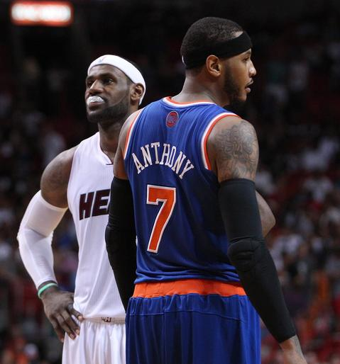 Miami Heat forward LeBron James and New York Knicks' Carmelo Anthony during the third quarter at the AmericanAirlines Arena in Miami, Fla., on Sunday, April 6, 2014. (David Santiago/El Nuevo Herald/MCT)