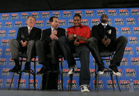 U.S. coach Mike, Krzyzewski answers questions from the media as Jerry Colangelo, U.S. Basketball Men's Senior National Team managing director, far left, and players Carmelo Anthony and Dwyane Wade look on following an announcement of the 12-players who will represent the United States in the Olympic Summer Games in Chicago.