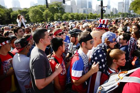Chicago Police restrict people from entering USA-Portugal World Cup viewing party along Balboa Avenue.