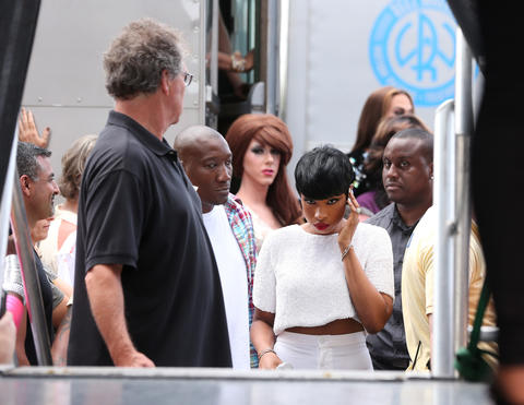 Jennifer Hudson prepares to take the stage at Chicago Pride Fest in Lakeview.