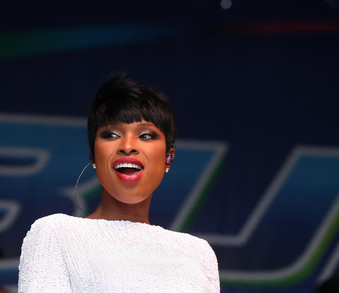 Jennifer Hudson flashes a smile while performing at Chicago Pride Fest in Lakeview.