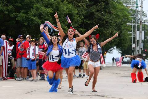 World Cup fans at Grant Park celebrate the upcoming match between the U.S. and Germany.