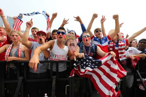 World Cup fans at Grant Park in Chicago celebrate the start of the U.S. vs. Germany game.