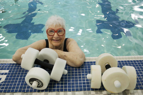 Staff Photo Of The Week: June 7-June 13, 2014   Aqua-areobics instructor Pauline Higgins, 89, at the Riverside Wellness Center in Newport News on Thursday. Mrs. Higgins teaches three 55-minute classes back to back on Tuesdays and Thursdays.  No Mags, No Sales, No Internet, No TV