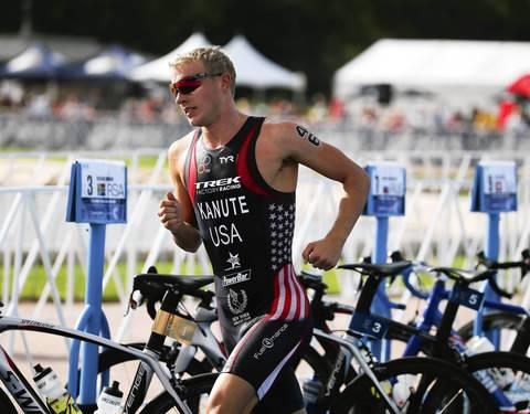 Ben Kanute, (46) of USA, competes, during the 2014 International Triathlon Union World Triathlon Series Elite race.