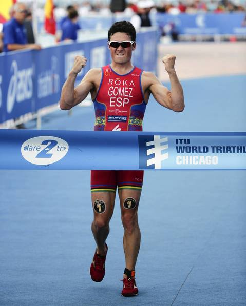 Javier Gomez Noya, of Spain, wins the 2014 International Triathlon Union World Triathlon Series Elite race.