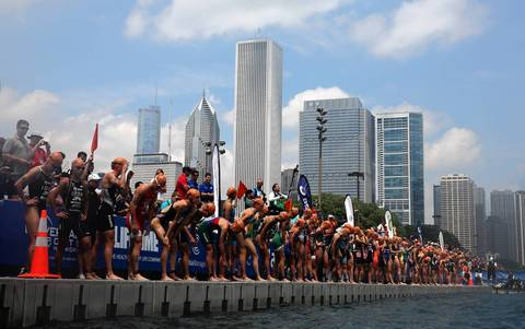 Athletes from all over the world wait to begin the swimming portion of the International Triathlon Union's (ITU) World Triathlon Chicago.