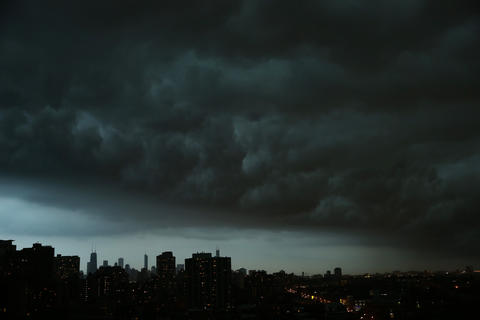 A thunderstorm descends on downtown Chicago Monday night.