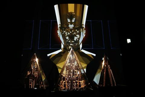 """Pyramidi"", will.i.am's first artwork in a gallery space, a sound and video installation featuring a new track, seen on display at the Barbican's Digital Revolution exhibition on July 2, 2014 in London, England."