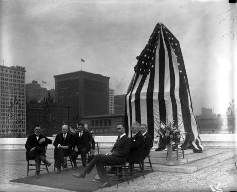 The Rev. W. Clyde Howard, from left, Charles S. Cutting, Edward J. Kelly, Leonard A. Busby, George P. Merrick and William J. Lauterbach at the unveiling of 'The Seated Lincoln' statue in Grant Park on May 31, 1926. The monument was the last work created by Irish-born sculptor Augustus Saint-Gaudens and sits just east of South Columbus Drive. It was a gift from wealthy (and long-dead) Chicagoan John Crerar.