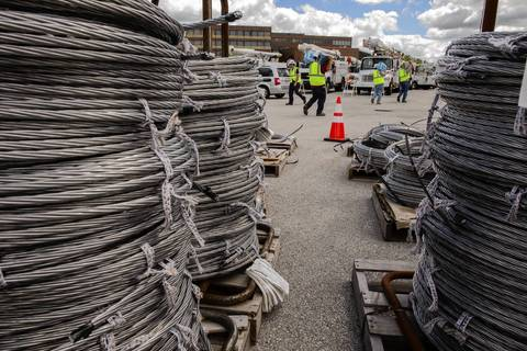 Pallets of cable sit at the ComEd mobile operations center in Matteson.