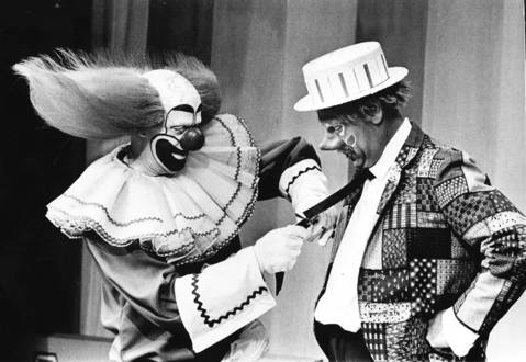 "Bob Bell as Bozo the Clown, left, and Ray Rayner as Oliver O. Oliver, right, during ""Bozo's Circus"" in 1967."