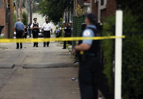 Chicago Police at the scene of a shooting involving a 16-year-old victim in the 8700 block of S. Morgan St.