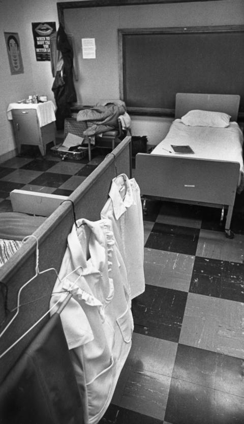 "Nov. 3, 1983: One of the rooms at the S.H.A.R.E. (Start Here Alcohol Rehabilitation and Education) center in Glendale Heights, which director James Browning says is ""130 percent occupied."" The 30-bed facility was the only publicly funded social detoxification and rehabilitation center for residents of DuPage County and western Cook County."