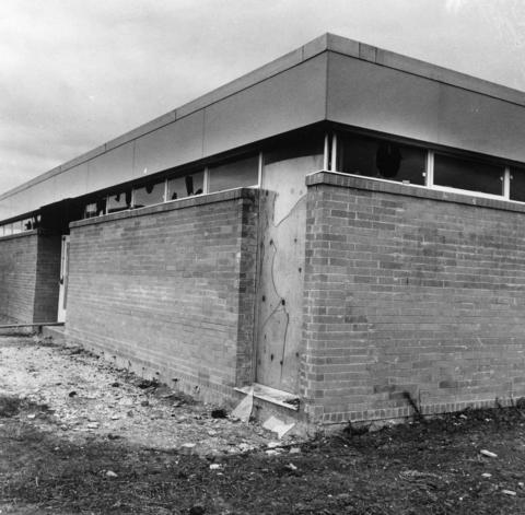 Oct. 28, 1968: Broken windows are but one example of the vandalism that has plagued the construction of the Glenside Junior High School in Glendale Heights. More than $20,000 in damage was done to the school at Fullerton and Bloomingdale roads, and the opening was delayed from September to January.