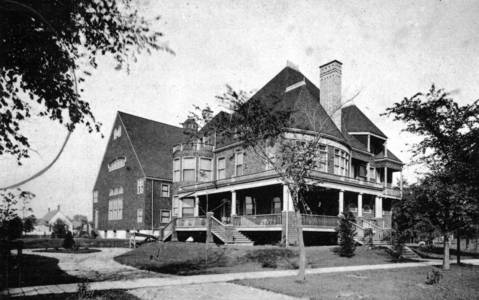 "The ""Oaks"" Clubhouse at Lake Street and Waller Avenue was a prestigious club in the Austin neighborhood. The building was built by architect and Austin resident Frederick R. Schock. The clubs limited membership was drawn from homes located between Fifty-second (Laramie Avenue), Austin, Madison and Chicago Avenue. This photo is from a postcard."