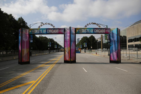 One of the entrances for the Taste of Chicago on Columbus Drive in Grant Park.