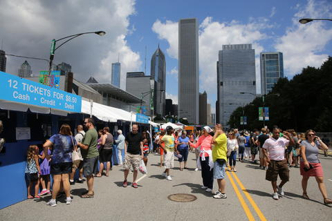 Day one of the Taste of Chicago food festival in Grant Park.