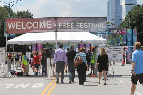 Crowds are sparse early on day one of the Taste of Chicago food festival in Grant Park.